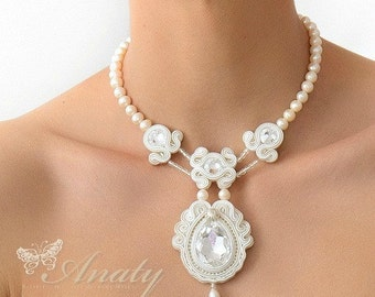 White Statement Necklace, Soutache Embroidered Necklace, White Bridal Necklace Soutache jewelry, Embroidered jewelry