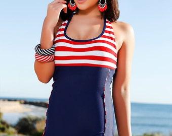 Nautical Skyscraper - Nautical themed boyleg one piece swimsuit in navey/white/red