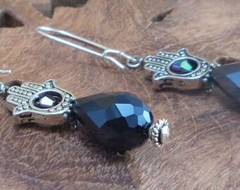 Dangle Earrings Hamsa / Fatima Hand, iridescent glass and silver plated dangle earrings / Kabbalah. Ref #EH005