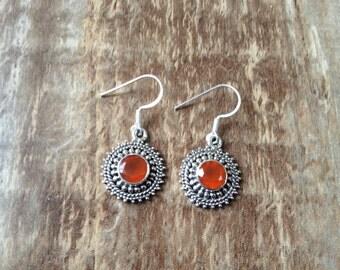 Sterling silver gemstone earrings/ Faceted Carnelian Earrings/ 925 Sterling silver earrings