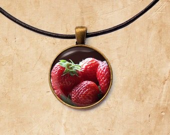Berry necklace Fruit jewelry Strawberries pendant