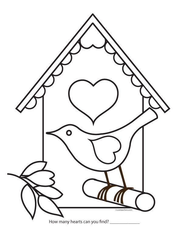 Valentine Bird House Coloring Page
