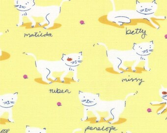 Hello Petal by Aneela Hoey for Moda  #18563-12  Yellow  with  White Kittens  100% Cotton