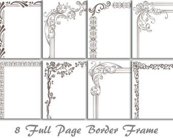 8 Grey Digital Full Page Border Clip Art Full Page Frame Clipart Frame Clip Art Scrapbooking Page Frame Clipart Page Border Clip Art 0115