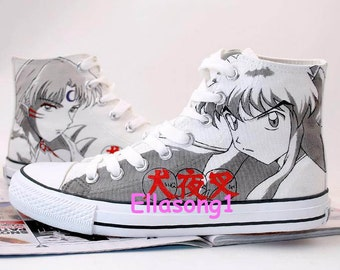 Hand Painted Canvas Shoes Casual Custom Shoes Japanese Anime Shoes Inuyasha Sneakers Custom Converse Shoes sport shoes Leisure shoes 61