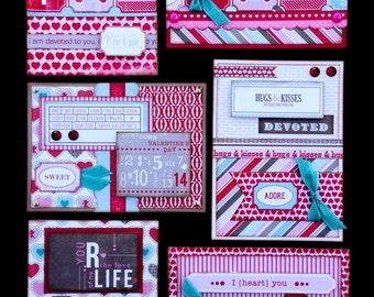 Valentine Card Kit, Premade valentine Cards, Handmade Card Kit, Handmade Valentine Card Kit, Pre-made Valentine Cards, Handmade Love Cards
