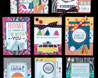 Masculine Card Kit, Premade Cards, Handmade Card Kit, Pre-made cards, Cards for Men, Premade Cards, Camping Cards