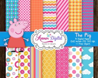 Digital paper kit party Peppa Pig Clipart