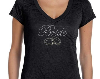 Bride with Wedding Rings Glitter Font Ladies' Diane V-Neck Burnout Tunic