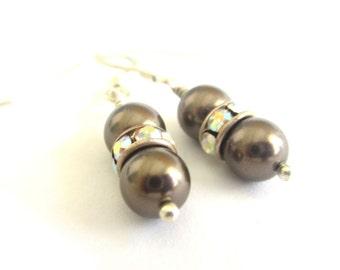 Chocolate Brown Swarovski Pearl Sterling Silver Drop Earrings