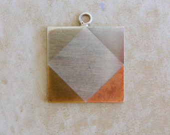 Large Square Shaped Sterling Silver Bracelet Charm From Mexico Tri Color
