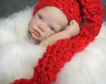 Red Elf Hat, Newborn Pixie Hat, Newborn Elf Hat, Stocking Hat, Pom Pom Hat, Newborn Photo Prop, Baby Girls, Baby Boys,Xmas Hat, Xmas Elf Hat