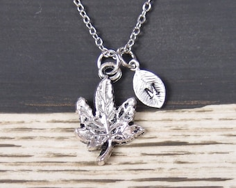 initial necklace, maple leaf necklace, long necklace option, silver maple leaf charm on silver plated chain, leaf jewelry, autumn jewelry
