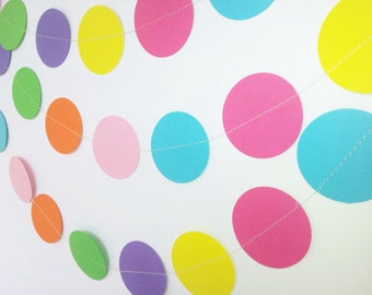 CARNIVAL Rainbow Paper Circle Garland - Party, Shower, Nursery, Children's Room decoration