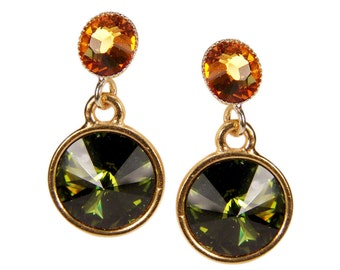 Crystal Stud Earrings. Olive-cognac. Gold plated