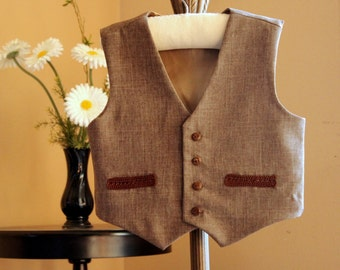 Kids Brown Vest, Brown waist coat for baby- toddler- boys- girls, Christmas outfit, ring bearers vest, Rustic Wedding vest