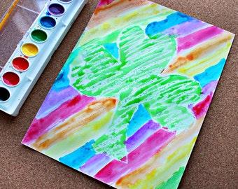 Crayon Resist 3 Leaf Clover Template