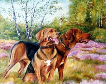 Large realistic landscape, Dog portrait from photos, Original painting, on request, Personalized gift