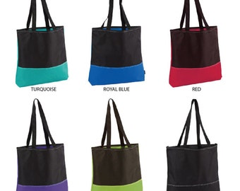 Color Block Convention Tote 5131A Bag Blank Tote Bag Shopping Tote Bag Wedding Tote Bag Bridesmaids Tote Bag Teacher Gift Bag