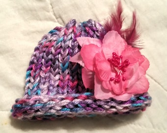 Girls pink and purple newborn baby beanie hat with detachable pink flower