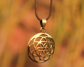 Seed of Life Brass Pendant  Small Sacred Geometry Small  Ø2,5 cm