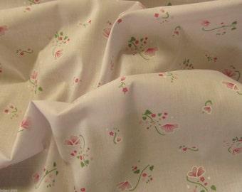 New Season Poly Cotton Pink Posy Floral Polycotton Fabric Dress/Craft Fabric
