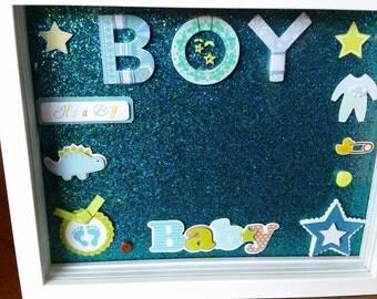It's A Boy! Ultrasound Keepsake Shadow Box