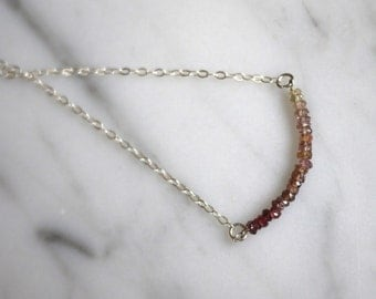Gradient garnet sterling silver chain necklace