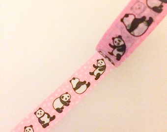 Japanese Washi Tape - Pink with Pandas and Polkadots