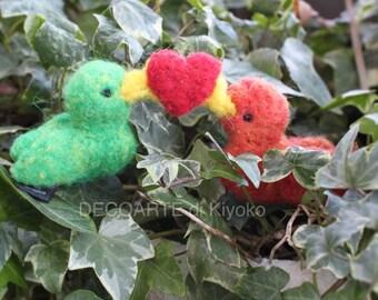 Felt birds in love