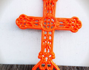 BOLD florescent neon orange whimsical floral ornate victorian cross wall hanging // cast iron // cottage chic // religious