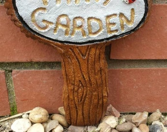 Fairy Garden Wall Ornament Sign - Hand cast and Painted Frost Proof