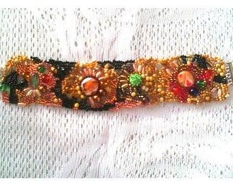 Jewelry, Bracelet, Beadwork bracelet, Handmade bracelet, Freeform bracelet, Gift for her,