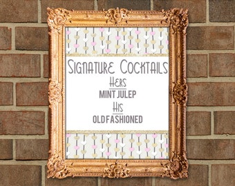 Floating Hearts Pink Gold Ivory Customized Wedding Signature Cocktails Sign