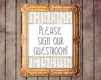 Floating Hearts Pink Gold Ivory Wedding Guestbook Sign