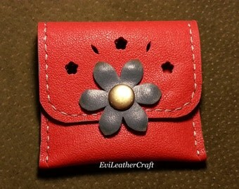 Leather coin purse / wallet / hand stitched / flower