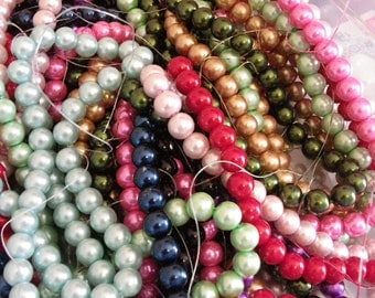 100 beads 8 mm glass Pearl multicolored hole 1 mm pink, red, blue, green, etc.