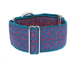 Turquoise Martingale collar, greyhound collar, 2 inch, dog collar, turquoise,martingale collar