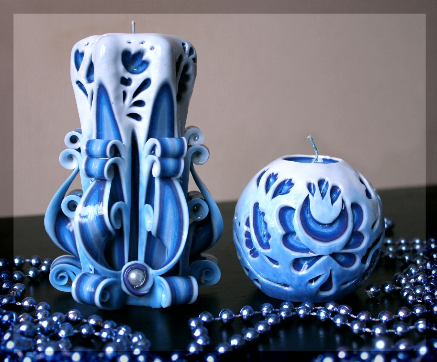 Blue candle unusual gifts carved candles