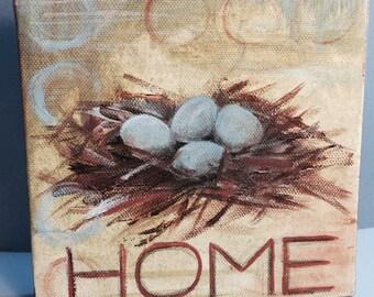 home: an original  6x6 acrylic on canvas