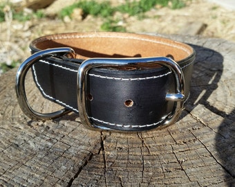 "Handmade black leather dog collar. 1 1/2"" wide, size 14""-18,"" with laser engraved name tag."