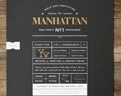 Manhattan Whiskey Cocktail 18X24 Metallic Screenprint Poster