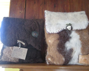 Felted wool laptop cases with antler of wooden button