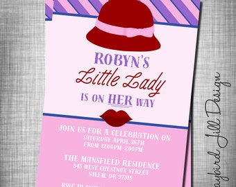 Trendy Hipster Baby Shower Invitation, Chic Baby Shower Invitation, Little Lady Baby Shower,