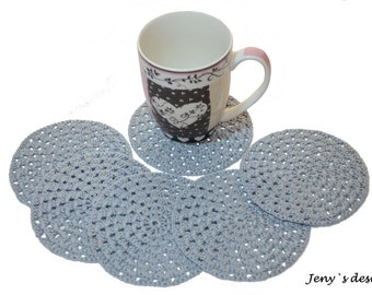 Gray crochet coasters, crochet doilies, crochet home decor, crochet table decor, coffee and tea decoration, drink coasters, beverage doilies