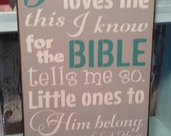 Jesus Loves Me, wood sign