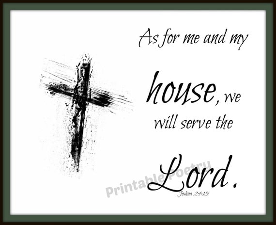Scripture Wall Art, As for Me and My House, Printable Bible Verse, Gift