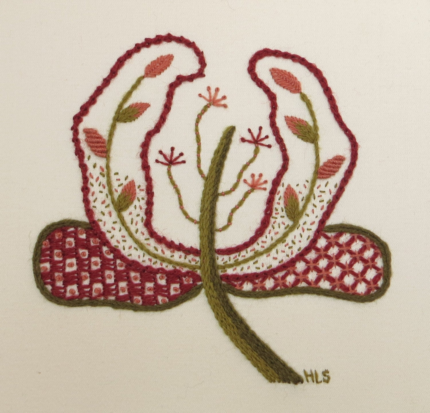 Embroidery kit jacobean style flower head by embroideryhands
