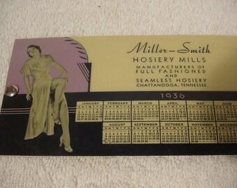 1936 Miller Smith Hosiery Calendar Blotter Glam Girls Glamour Girls