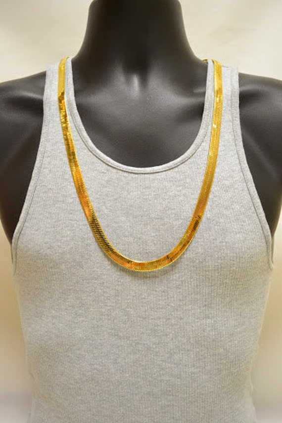 mens 24k gold plated herringbone chain necklace 30